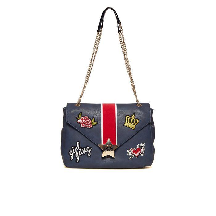 Roccobarocco γυναικεία τσάντα ώμου με patches και αλυσίδα - 01GRBBS2UA01/SA - Μπλε Σκούρο