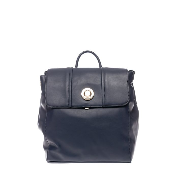 Roccobarocco γυναικείο backpack με μεταλλικό λογότυπο - 03HRBBS3JI04/TO - Μπλε Σκούρο