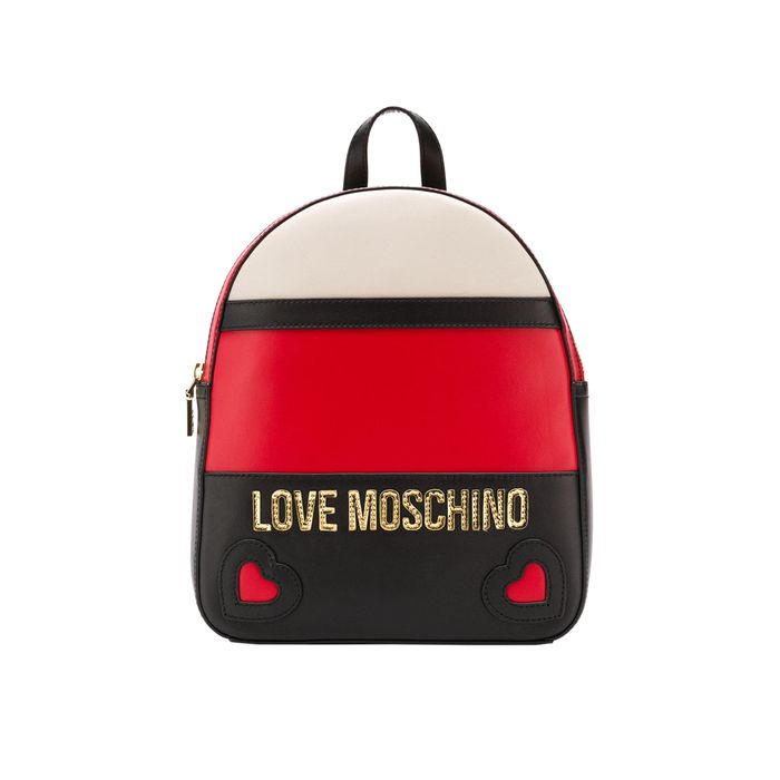Love Moschino γυναικείο backpack με colorblock και μεταλλικό λογότυπο - JC4338PP06KZ1 - Κόκκινο