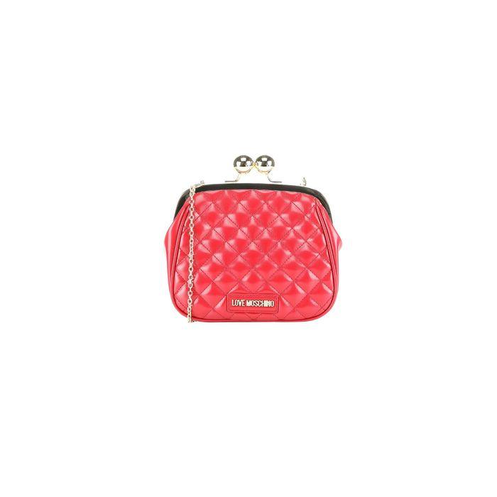 Love Moschino γυναικείo clutch καπιτονέ με αλυσίδα ώμου - JC4250PP08KA0 - Κόκκινο