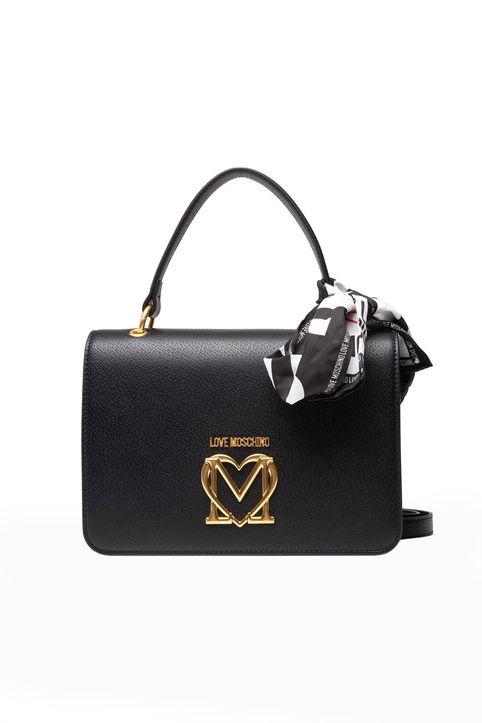 Love Moschino γυναικεία τσάντα χειρός με μεταλλικό logo και διακοσμητικό μαντήλι - JC4209PP1DLL0 - Μαύρο