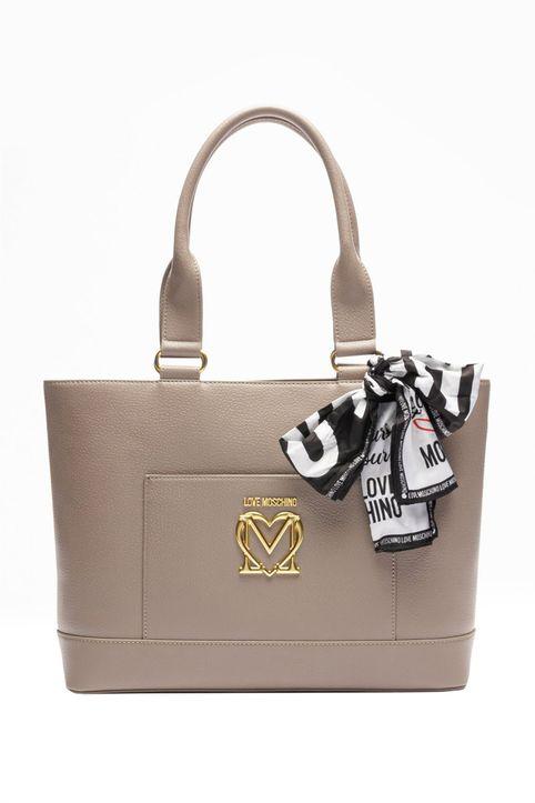 Love Moschino γυναικεία τσάντα ώμου με μεταλλικό logo και διακοσμητικό μαντήλι - JC4210PP1DLL0 - Μπεζ
