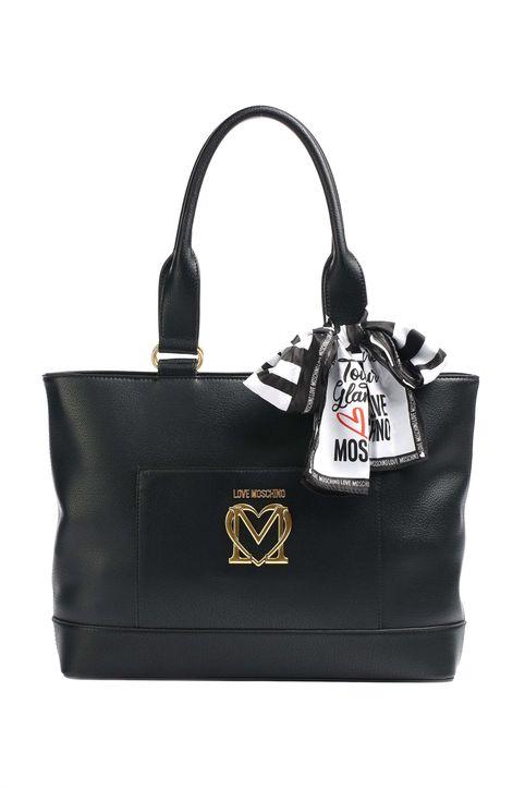 Love Moschino γυναικεία τσάντα ώμου με μεταλλικό logo και διακοσμητικό μαντήλι - JC4210PP1DLL0 - Μαύρο