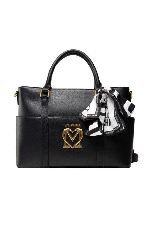 Love Moschino γυναικεία τσάντα χειρός με μεταλλικό logo και διακοσμητικό μαντήλι - JC4213PP1DLL0 - Μαύρο