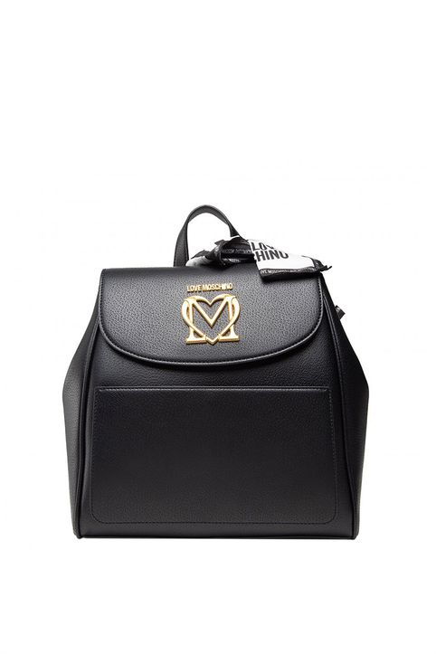 Love Moschino γυναικείο backpack με μεταλλικό logo και διακοσμητικό μαντήλι - JC4215PP1DLL0 - Μαύρο