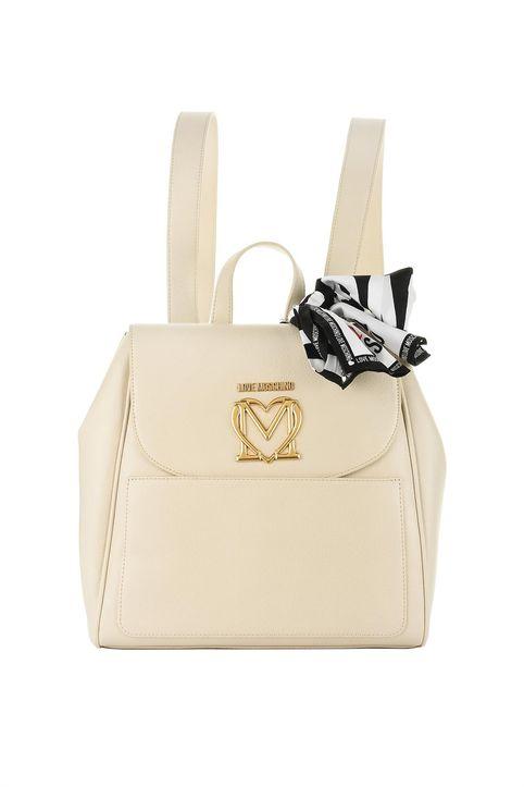 Love Moschino γυναικείο backpack με μεταλλικό logo και διακοσμητικό μαντήλι - JC4215PP1DLL0 - Άσπρο