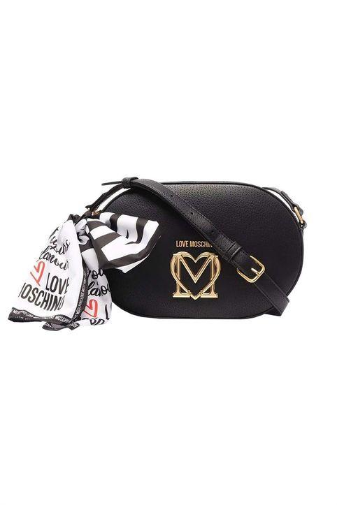 Love Moschino γυναικεία τσάντα crossbody με μεταλλικό logo και διακοσμητικό μαντήλι - JC4217PP1DLL0 - Μαύρο