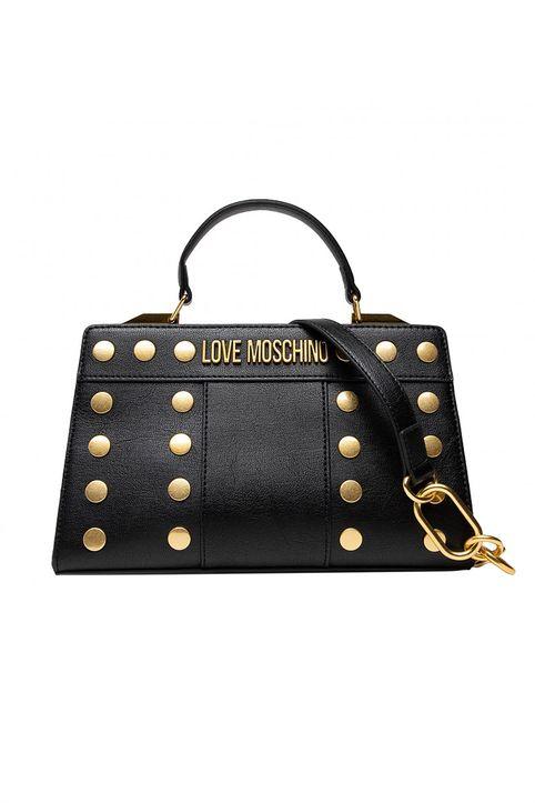 Love Moschino γυναικεία τσάντα χειρός με μεταλλικό logo και τρουκς - JC4219PP1DLM0 - Μαύρο