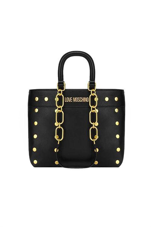 Love Moschino γυναικεία τσάντα χειρός με τρουκς και διακοσμητική αλυσίδα - JC4222PP1DLM0 - Μαύρο