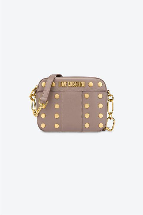 Love Moschino γυναικεία τσάντα crossbody με μεταλλικό logo και τρουκς - JC4223PP1DLM0 - Μπεζ