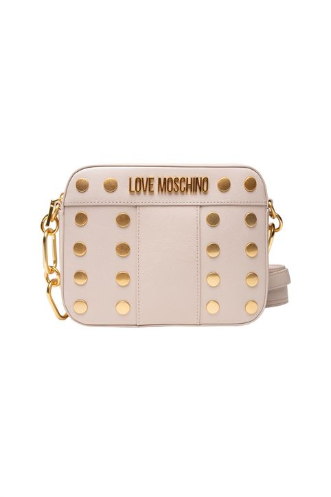 Love Moschino γυναικεία τσάντα crossbody με μεταλλικό logo και τρουκς - JC4223PP1DLM0 - Εκρού