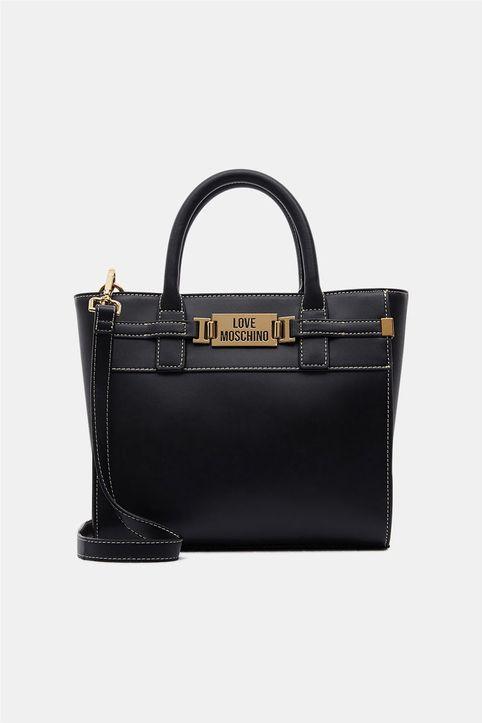 Love Moschino γυναικεία τσάντα χειρός με μεταλλικό logo - JC4238PP0DKB0 - Μαύρο