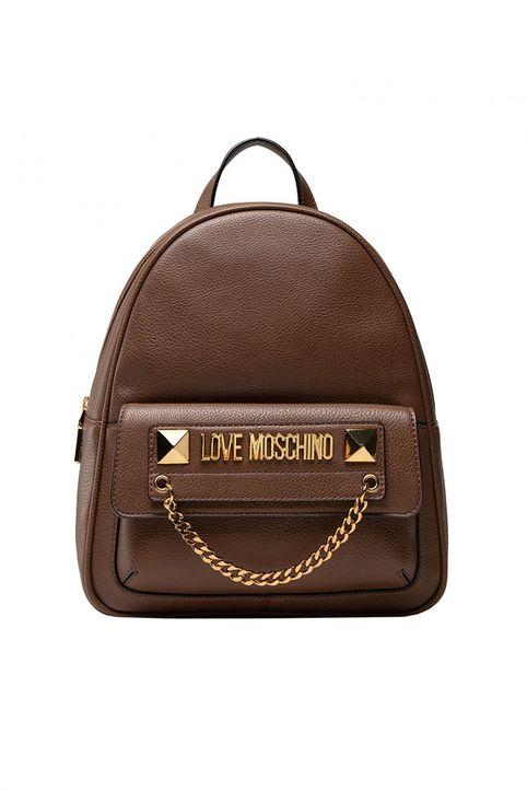 Love Moschino γυναικείο backpack με μεταλλικό logo και διακοσμητική αλυσίδα - JC4244PP0DKC0 - Καφέ