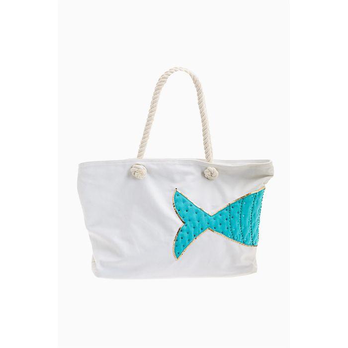 Lovely Hats γυναικεία τσάντα παραλίας με fish print και διακοσμητικές παγιέτες - AB8050