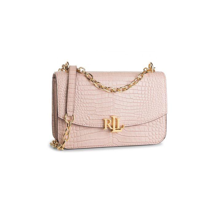 Lauren Ralph Lauren γυναικεία δερμάτινη croco τσάντα crossbody με αλυσίδα - 194-431746229/003 - Ροζ