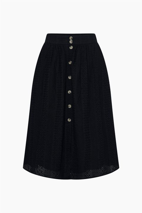 Orsay γυναικεία midi φούστα με διάτρητο σχέδιο - 724307-660000 - Μαύρο