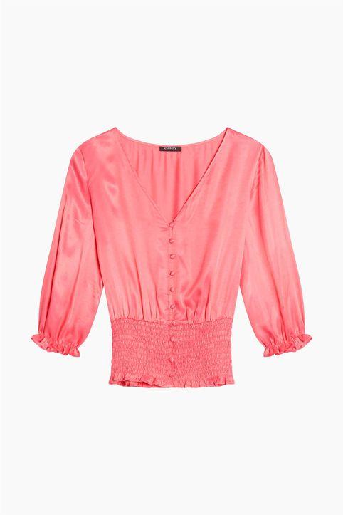 Orsay γυναικεία μπλούζα με σφηκοφωλιά - 611015-268000 - Ροζ