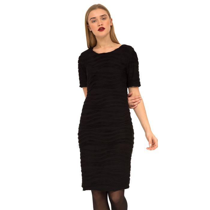 Fransa γυναικείο φόρεμα μονόχρωμο με κοντό μανίκι - 20604364 - Μαύρο