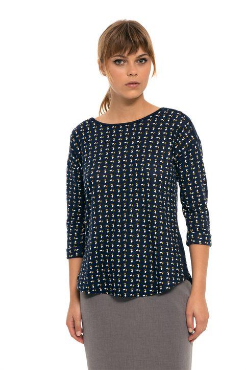 Fransa γυναικεία πλεκτή μπλούζα με print all-over και κουμπιά - 20604280 - Μπλε Σκούρο