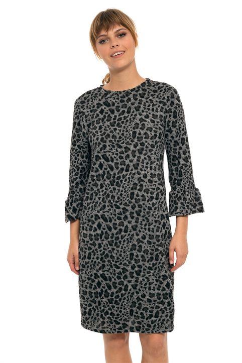 Fransa γυναικείο πλεκτό mini φόρεμα animal print με βολάν μανίκια - 20604691 - Γκρι