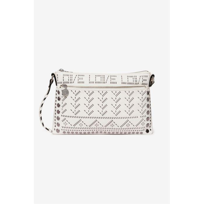 Desigual γυναικεία crossbody τσάντα με διακοσμητικές μεταλλικές πέτρες - 20SAXPB6 - Λευκό
