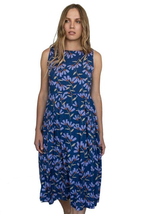 Helmi γυναικείο midi φόρεμα αμάνικο floral με δέσιμο πίσω - 46-05-111 - Μπλε