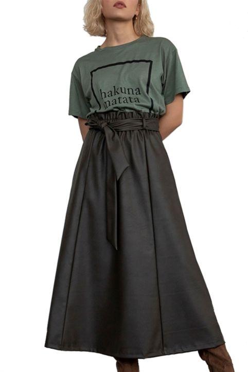 Helmi γυναικεία midi φούστα ψηλόμεση από faux leather - 46-01-020 - Χακί