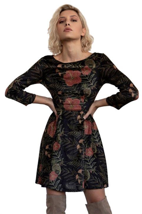 Helmi γυναικείο mini φόρεμα με μανίκια 3/4 και floral print - 46-05-058 - Κυπαρισσί