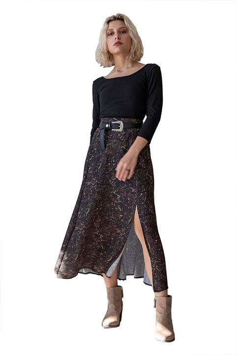 Helmi γυναικεία midi φούστα all-over print με ζώνη - 46-01-043 - Καφέ