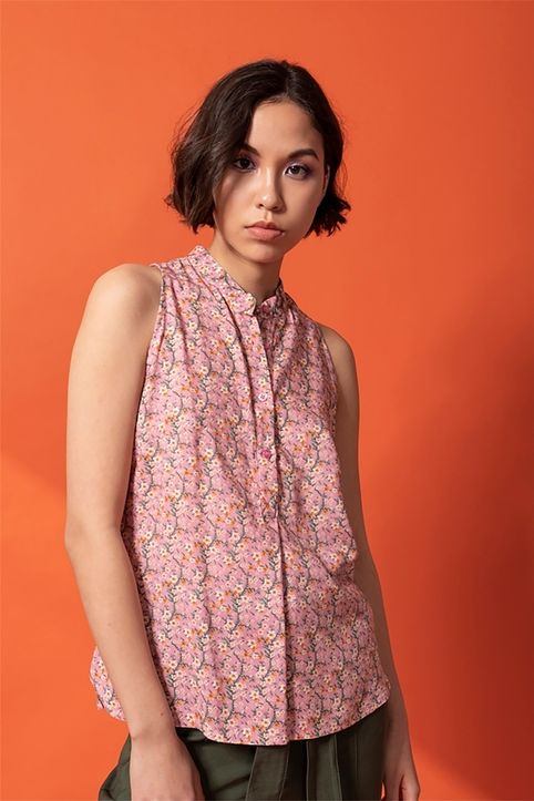Helmi γυναικείο πουκάμισο αμάνικο με all-over floral print - 47-03-051 - Ροζ