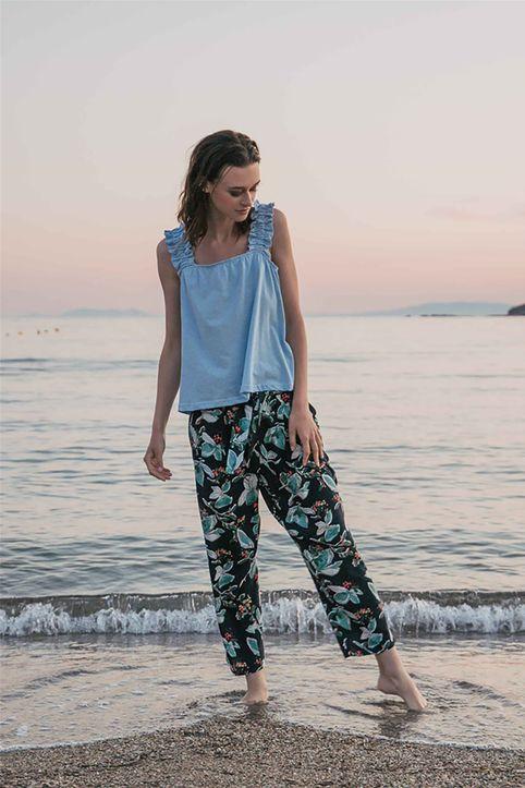 Helmi γυναικείο παντελόνι ψηλόμεσο με floral print και ζώνη στη μέση - 47-04-083 - Μαύρο