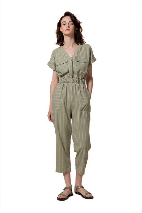 Helmi γυναικεία ολόσωμη φόρμα με ριγέ σχέδιο - 47-25-004 - Χακί