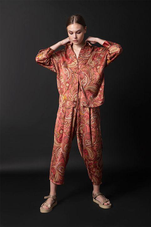 Helmi γυναικείο παντελόνι με all-over print λαχούρι - 48-04-026 - Κεραμιδί
