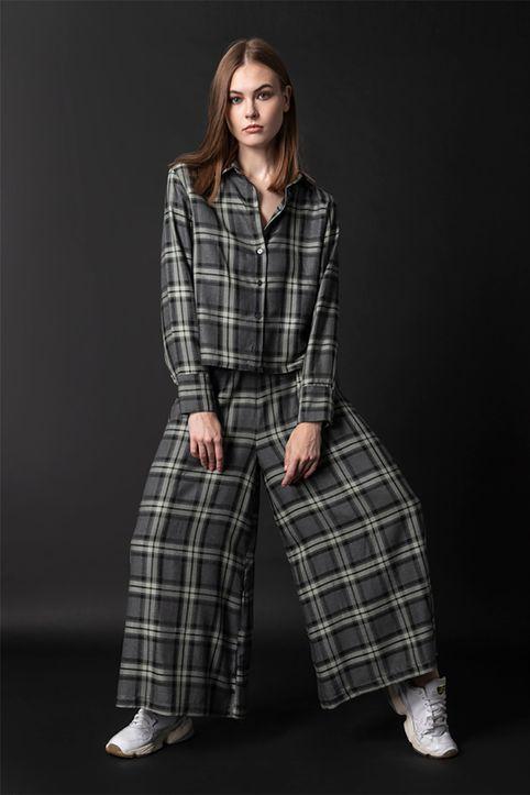 Helmi γυναικεία παντελόνα με καρό σχέδιο και μπάσκα - 48-04-002 - Ανθρακί