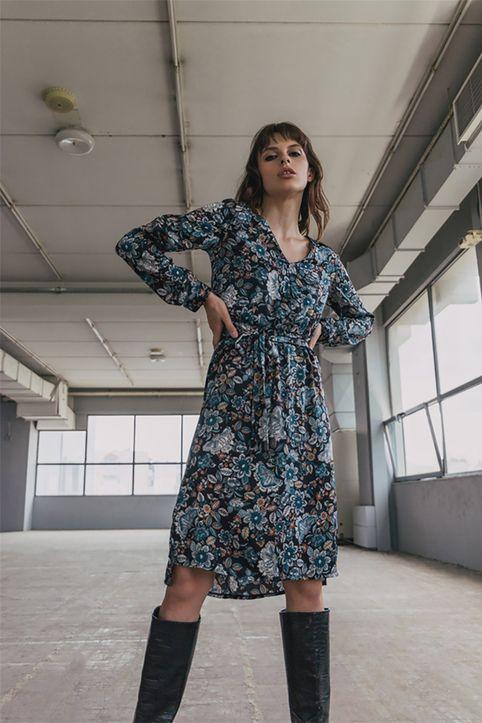 Helmi γυναικείο midi φόρεμα με all-over floral print - 48-05-018 - Μαύρο