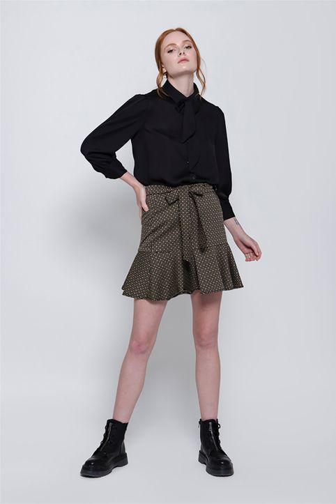 Helmi γυναικεία mini φούστα με all-over print και βολάν - 48-01-011 - Καφέ