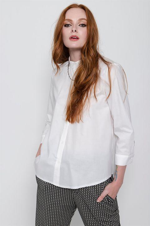 Helmi γυναικείο πουκάμισο με μάο γιακά μονόχρωμο - 48-02-015 - Λευκό