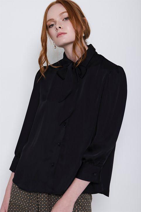 Helmi γυναικείο πουκάμισο σατέν με γιακά με γραβάτα - 48-02-040 - Μαύρο