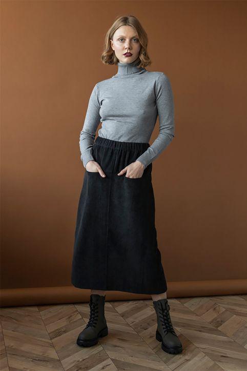 Helmi γυναικεία midi φούστα κοτλέ - 48-01-019 - Μαύρο