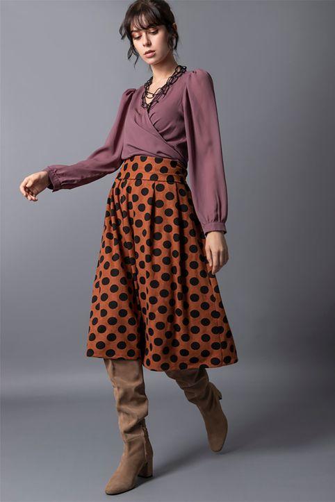 Helmi γυναικεία midi φούστα ψηλόμεση με πουά σχέδιο και πιέτες - 48-01-022 - Καφέ