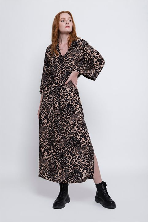 Helmi γυναικείο maxi φόρεμα με all-over animal print και ζώνη - 48-05-056 - Μαύρο