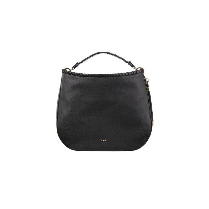 DKNY γυναικεία δερμάτινη τσάντα χειρός μονόχρωμη με μεταλλικές λεπτομέρειες ''Winnie'' - R02CUI95 - Μαύρο
