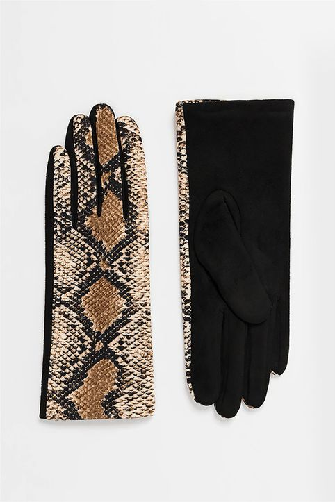 Pia Rossini γυναικεία γάντια με snake print - SHA01234 - Καφέ