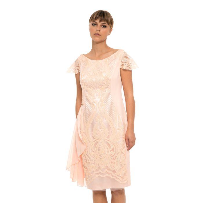 Jupe γυναικείο midi φόρεμα με τούλι και παγιέτα - 21.182.J05.021 - Nude