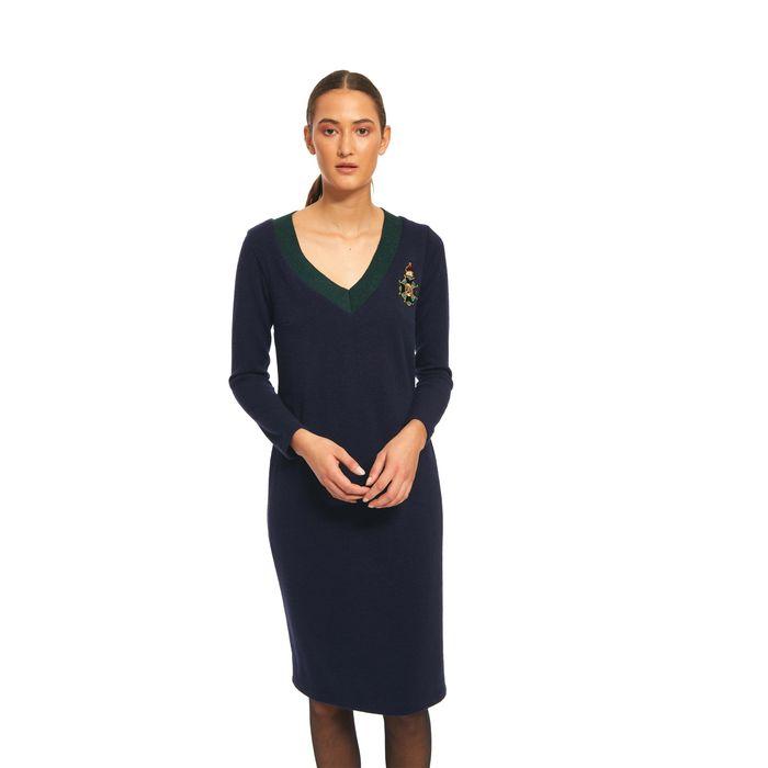 Bella P γυναικείο μίντι πλεκτό φόρεμα με patch - 21.182.Β05.107 - Μπλε Σκούρο