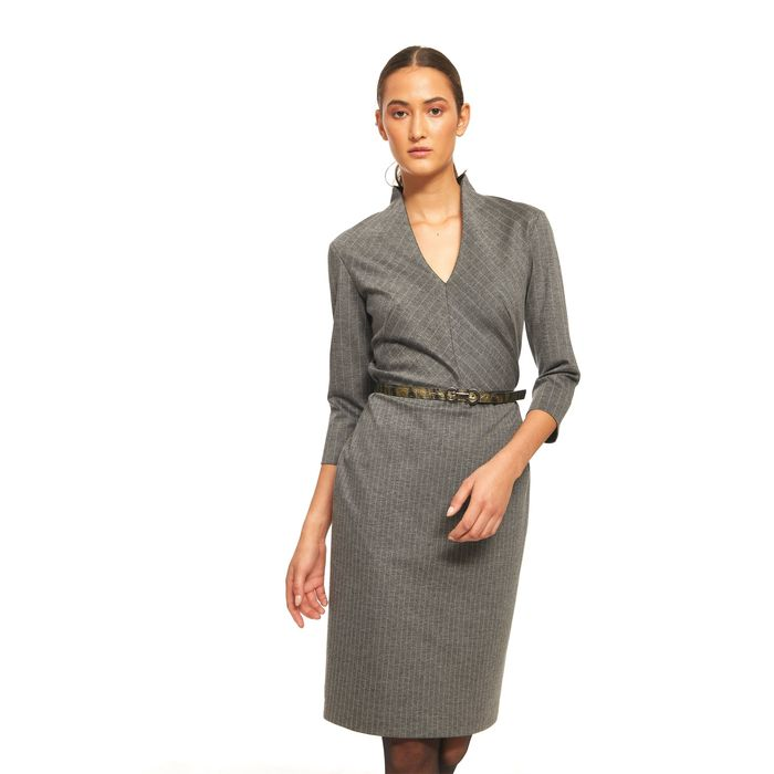 Bella P γυναικείο ριγέ φόρεμα με λαιμόκοψη V και μανίκια 3/4 - 21.182.Β05.114 - Γκρι