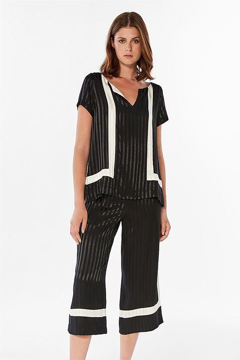 Bella P γυναικείο παντελόνι cropped με ton-sur-ton ριγέ σχέδιο - 21.211.Β03.105 - Μαυρο