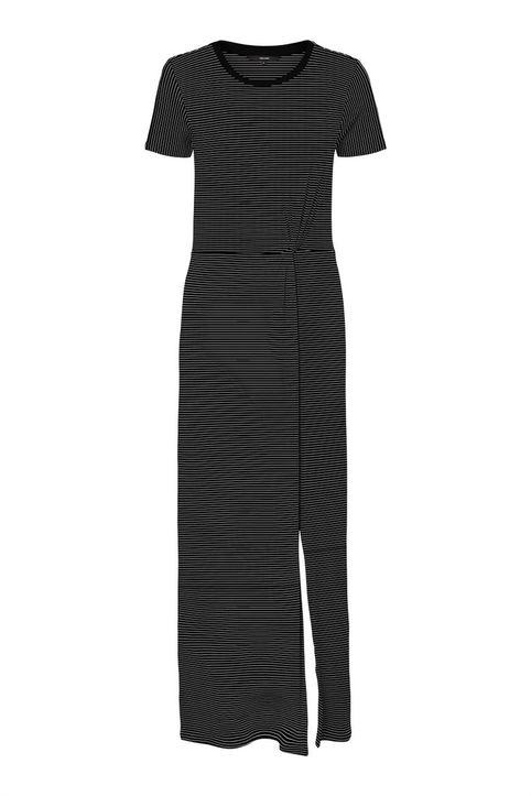 Vero Moda γυναικείο maxi ριγέ φόρεμαμε με σούρα - 10228490 - Μαύρο