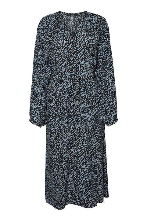 Vero Moda γυναικείο midi φόρεμα κρουαζέ με ζώνη στη μέση - 10253637 - Μαύρο