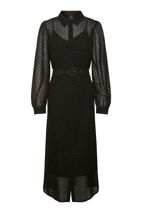 Vero Moda γυναικείo midi φόρεμα με διαφάνεια - 10256256 - Μαύρο